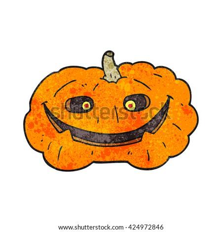 freehand textured cartoon pumpkin - stock vector