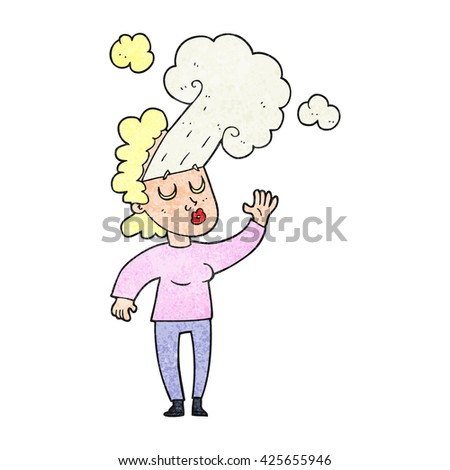 freehand textured cartoon woman letting off steam - stock vector