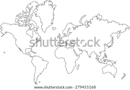 freehand world map sketch on white stock vector hd royalty free 279455168 shutterstock