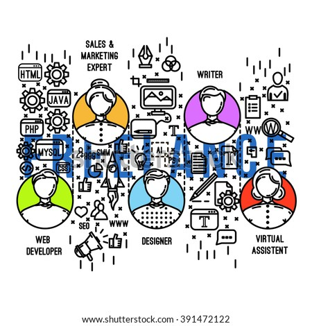 Freelance birge big infographic.Freelance professions set :designer,virtual assistant ,web developer , writer , manenger specialists Working tools Outlie flat style.Outline icons .Vector illustrations - stock vector