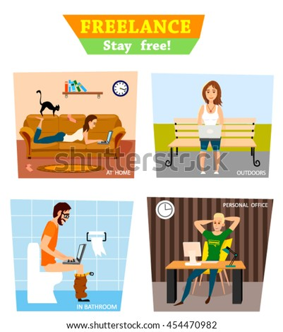 Freelance characters concept. Working in the personal office, in bathroom, at home and  in the park - stock vector