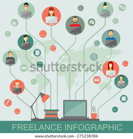 Freelance infographic template. Set elements for creating you own infographic. Vector illustration - stock vector