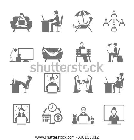 Freelance online and remote work in garden beach and night flat silhouette icon set isolated vector illustration  - stock vector