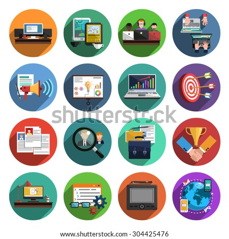 Freelance recruitment agency for temporary independent creative professional work flat icons set round abstract isolated vector illustration - stock vector