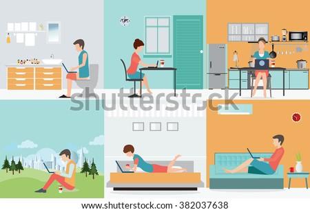 Freelance Set Various Cartoon Character Design Stock Vector 382037638 Shutterstock