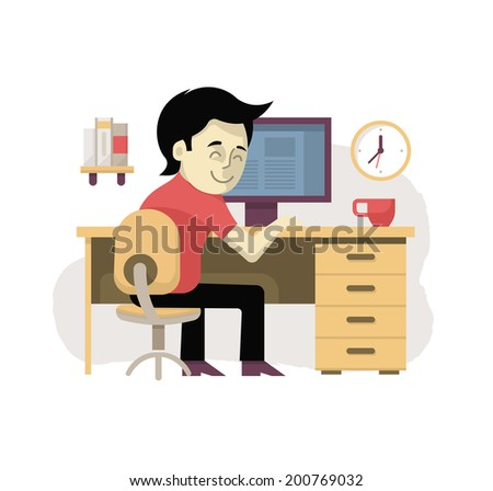 Freelancer at workplace working at the desktop computer from home. Illustration in modern flat design style - stock vector