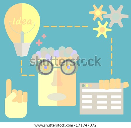 Freelancer character designer website creating development process, web application elements and objects in stylish colors Flat design vector illustration icons set - stock vector