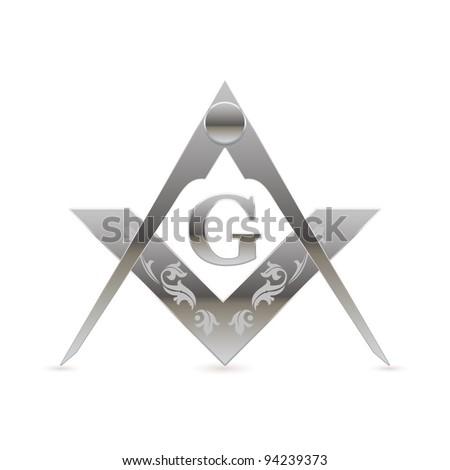 Freemason square and compasses symbol - stock vector