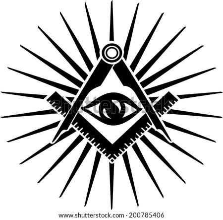 Freemasonry, Square And Compasses, The All Seeing Eye - stock vector