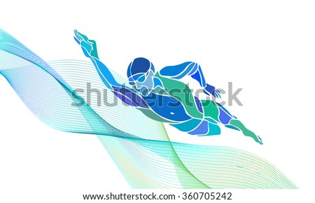 Freestyle Swimmer Black Silhouette. Sport swimming, front crawl. Vector Professional Swimming Color Illustration - stock vector