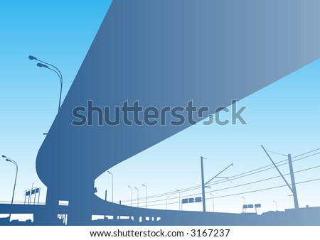 Freeway Interchange on the blue sky, Moscow - stock vector