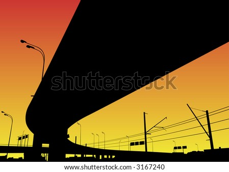 Freeway Interchange on the red sky, Moscow - stock vector