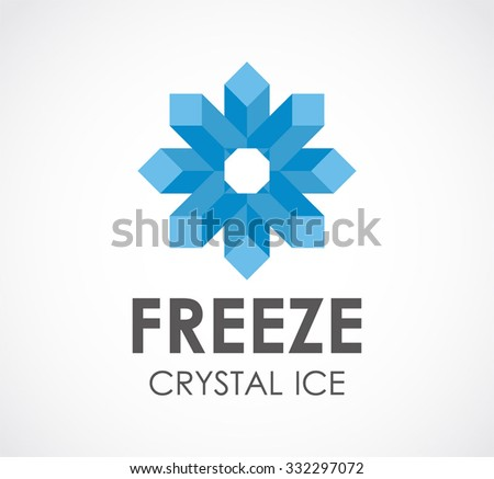 Freeze crystal of star ice abstract vector and logo design or template cold business icon of company identity symbol concept - stock vector