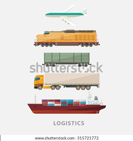 Freight transport. Flat design. - stock vector