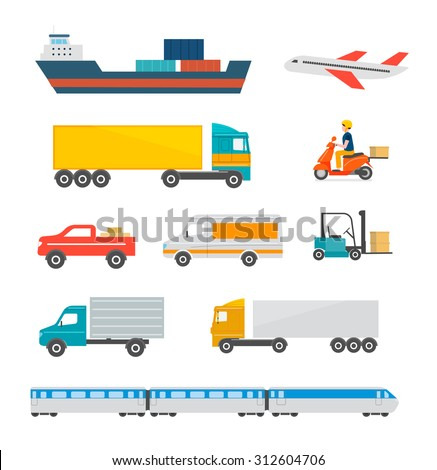 Freight transport icons set. Cargo and delivery, logistics and freight traffic, vector illustration. Includes cargo ship, truck, lorry, car, plane, scooter etc. Isolated - stock vector