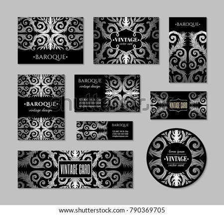 French baroque style elegant ornate visiting stock vector 790369705 french baroque style elegant ornate visiting cards luxurious fashionable silver black ornamental flyer design reheart Gallery