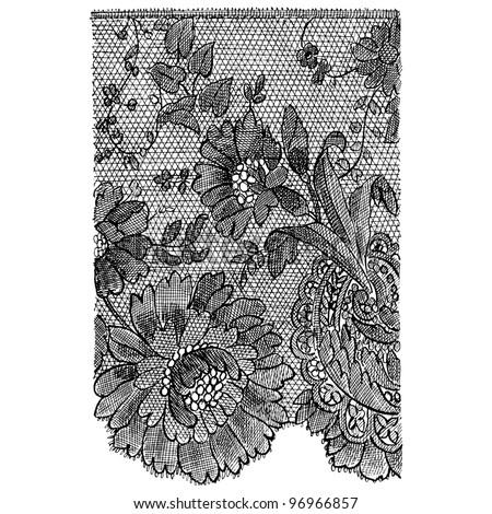 "French black lace - vintage engraved illustration - ""Decor par la plante"" by Alfred Keller - Ed.Ernest Flammarion - 1904 Paris - stock vector"