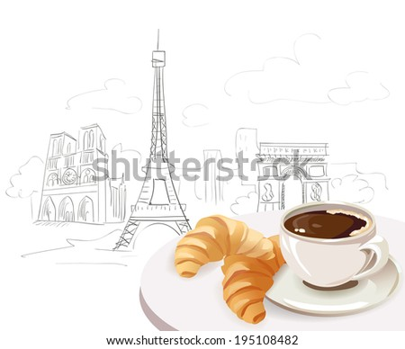 french breakfast on city background. vector illustration - stock vector