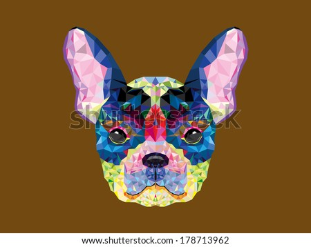 French bulldog head in geometric pattern - stock vector