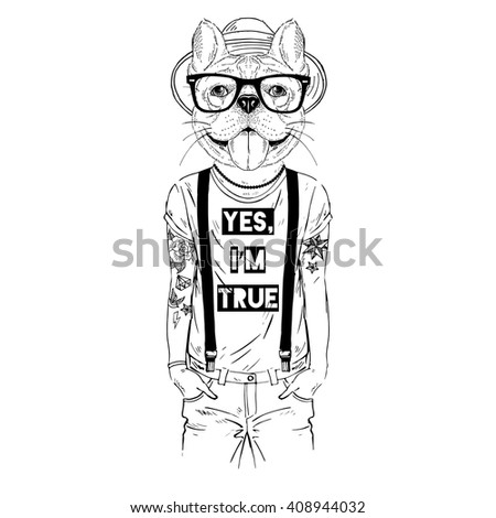 French Bulldog Hipster In Cool T Shirt Furry Art Illustration Fashion Animals