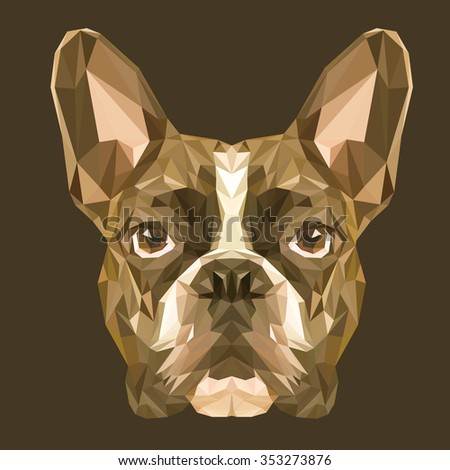 French Bulldog low poly design. Triangle vector illustration. - stock vector