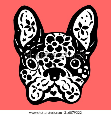 french bulldog sugar skull, frenchie cute dog day of the dead, vector illustration design