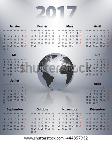 French business calendar for 2017 year with the world globe in a spot lights. Best calendar for print, business and web design use. Poster format calendar. Mondays first. Vector illustration