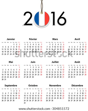 French Calendar grid for 2016 with flag like tag. Mondays first. Vector illustration - stock vector