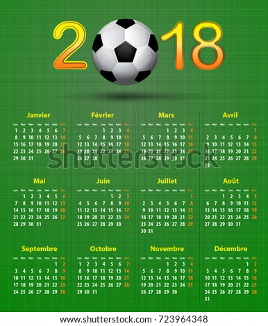 French Calendar 2018 Soccer Football Theme Stock Vector (2018