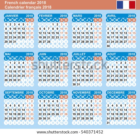 French Calendar 2018 Vector Template Numbers Stock Vector 540371452