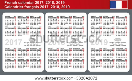 French Calendar 2017 2018 2019 Vector Stock Vector 532042072