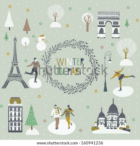 French Christmas in Paris - stock vector