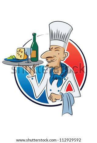 French cook. Vector illustration isolated on a white background