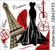 french couture fashion - stock vector