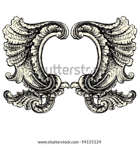"French décoration element of the seventeenth century - Vintage engraved illustration - ""Le Mobilier"" Ed.Edouard Rouveyre  in 1915 France - stock vector"