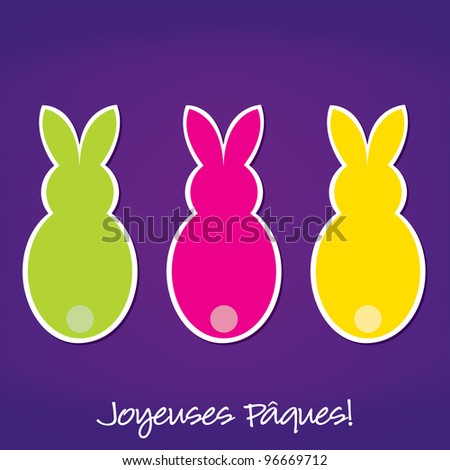 French Easter Bunny card in vector format. - stock vector