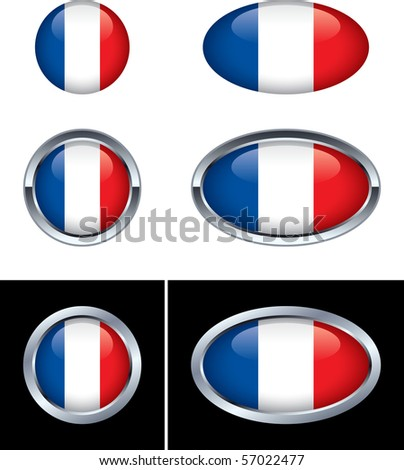 French Flag Buttons - stock vector