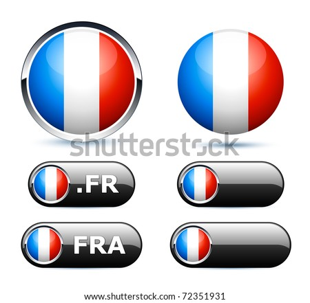 french flag icons - stock vector