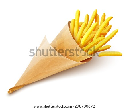 French fries potatoes in paper bag. Eps10 vector illustration. Isolated on white background - stock vector