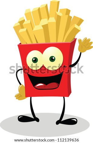 French Fries saying hello! - stock vector