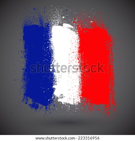 French grunge flag - stock vector