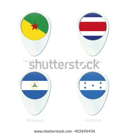 French Guiana, Costa Rica, Nicaragua, Honduras flag location map pin icon. French Guiana Flag, Costa Rica Flag, Nicaragua Flag, Honduras Flag. Vector Illustration. - stock vector