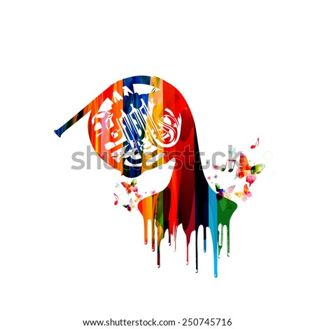 French horn colorful design - stock vector
