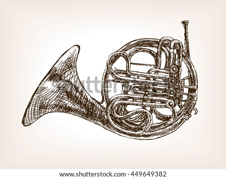 French Horn Sketch Style Vector Illustration Stock Vector