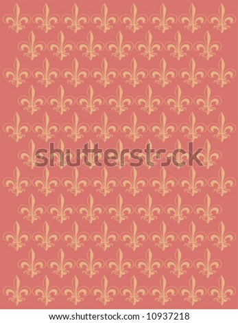 French Lily flower motif background vector design - stock vector