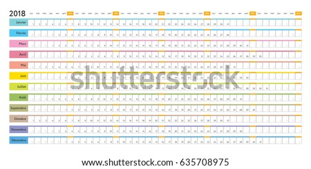 French Linear 2018 Calendar Day Schedule Stock Vector 635708975