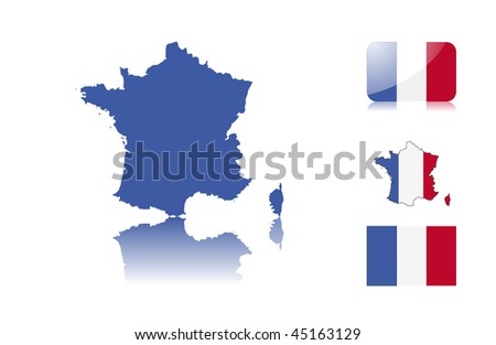 French map including: map with reflection, map in flag colors, glossy and normal flag. - stock vector