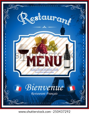 French menu restaurant - stock vector
