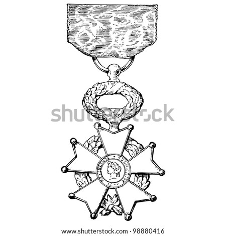 "French National Order of the Legion of Honour - vintage engraved illustration - ""Dictionnaire encyclop�©dique universel illustr�©"" By Jules Trousset - 1891 Paris - stock vector"