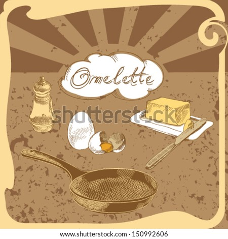 French omelet recipe. Set of characters on the culinary theme - stock vector